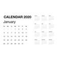 minimalistic desk calendar 2020 year design of vector image vector image
