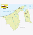nation brunei map with flag vector image vector image