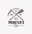 old monsters fair vintage style halloween logo vector image