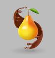 pear realistic fruit in chokolate splash vector image vector image
