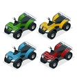 Quad bikes isometric icons set graphic vector image vector image