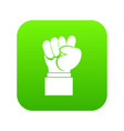 raised up clenched male fist icon digital green vector image