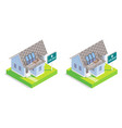 real estate house isometric icon set vector image