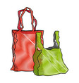 Red and green plastic shopping bag market vector image