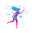 running girl with letter icon isolated vector image