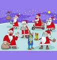santa claus cartoon characters group on christmas vector image