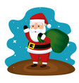 santa claus with bag to christmas celebration vector image vector image