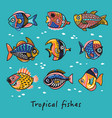 set tropical fishes vector image vector image