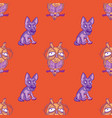 silly dog and wise owl seamless pattern vector image