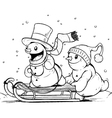 Snowmen on sled Winter Activities vector image