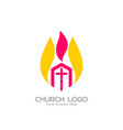 the church of christ and the flame vector image vector image