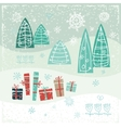 Vintage Christmas card with gifts trees and vector image vector image