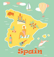 vintage poster of spain with attractions and vector image