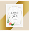 wedding invitation template with flower and leaves vector image vector image