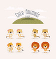 white background with grass and set cute animals vector image vector image