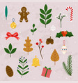 winter leaves and christmas items elements vector image