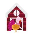 wooden barn and turkey bird farm animal cartoon