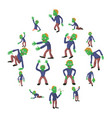 zombie poses icons set cartoon style vector image vector image