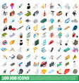 100 job icons set isometric 3d style vector image vector image