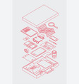 briefcase isometric outline vector image