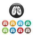 bronchitis lungs icons set color vector image vector image