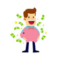 businessman holding piggy bank with money vector image
