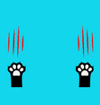 cat claw scratching set black paw print leg foot vector image