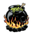 cauldron magic potion colorful concept vector image