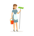 cheerful maid character wearing uniform standing vector image vector image