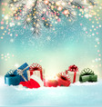 christmas holiday background with colorful vector image vector image