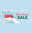 christmas sale promo banner with winter snow and vector image