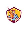 Construction Worker Jackhammer Shield Cartoon vector image vector image