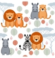 Cute animal seamless pattern with lion vector image