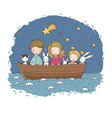 cute cartoon kids in boat a brother two vector image