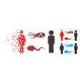 damaged dot halftone people exchange microbes icon vector image vector image