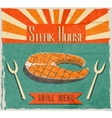 Fish steak retro poster vector image vector image