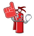 foam finger fire extinguisher mascot cartoon vector image