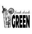 fresh green drink vintage label vector image