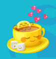 funny food characters cup tea lemon and sugar vector image vector image
