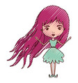 girly fairy without wings and magenta long hair in vector image vector image