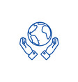 globalization in hands line icon concept vector image vector image