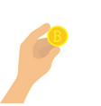 hand holding bitcoin vector image vector image