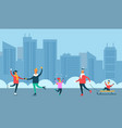 happy people spend leisure time outdoors at winter vector image vector image