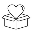 heart box icon outline style vector image