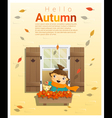 Hello autumn background with little girl 2 vector image