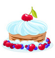 icon sweet cartoon cake with whipped cream vector image vector image