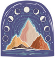 landscape with mountains and symbols moon vector image vector image
