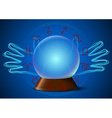 Magic ball with hands and zodiac signs vector image vector image