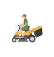 man with yellow lawnmower vector image