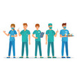 medical interns team young students group vector image vector image